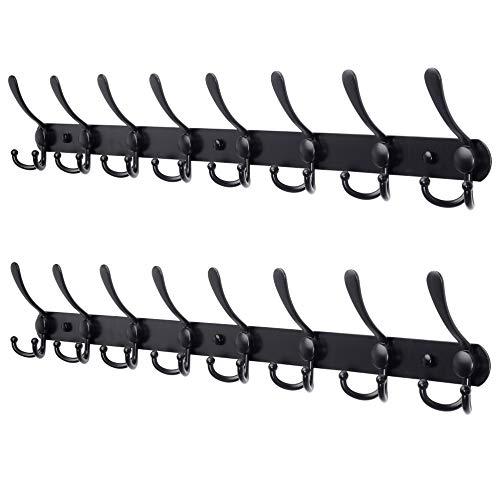 Dseap Coat Rack Wall Mounted - 8 Tri Hooks Heavy Duty Stainless Steel Metal Coat Hook Rail for Coat Hat Towel Purse Robes Mudroom Bathroom Entryway Black 2 Packs