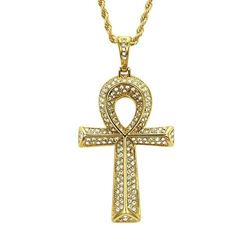 ZWJ Egyptian Ankh Key Cross Pendant Men's Necklace Jewelry