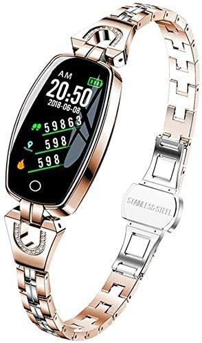 JIAJBG Fitness Tracker Smart Fitness Tracker/Smart Pulsera, Banda de Acero de Las Mujeres Monitor de Suspensión a Prueba de Agua Deportes Bluetooth Smart Reloj Pulsera, Pulsera pa