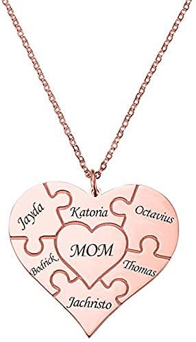 Yimesoy 925 collar de rompecabezas en forma de corazón de plata esterlina para mujer 1-12 colgante con nombre cosido-BFF collar de la amistad oro rosa