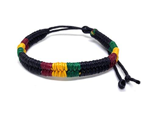 Rasta - Pulsera trenzada de algodón trenzado, pulsera ajustable jamaicana, estilo de amistad hippie para hombres y mujeres