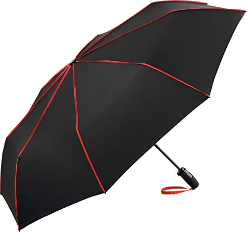 FARE-Seam Oversize-Taschenschirm, extra großer Regenschirm für mehrere Personen, bei Regen, Nässe, Sturm, Nähte, hohe Qualität, windfest, leicht verstaubar (schwarz-rot)