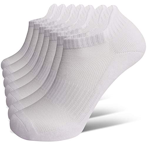 Closemate 7 Pairs Ankle Athletic Running Trainer Socks for Men Ladies Women Low Cut Wicking Sport Cushion Tab Mens Socks, White7 Pairs White, Men :9-12
