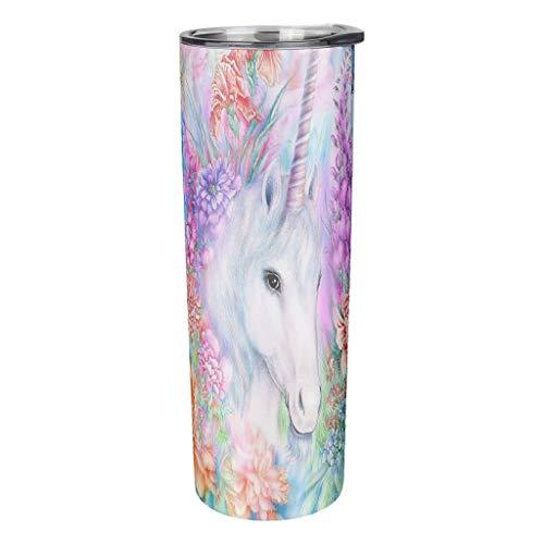 YshChemiy Vaso de unicornio con tapa, diseño de bocas de paja para...
