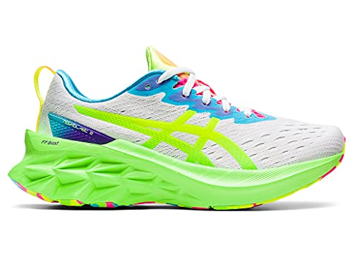 ASICS Women's Novablast 2 Running Shoes, 9, White/Safety Yellow