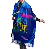 Bufanda de invierno unisex, acuario, medusa, pez, alga marina, largo, grande, cálido, bufandas, abrigo, chal, estola