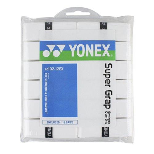 YONEX Super GRAP Overgrip de Tenis bádminton–Pack de 12, Blanco