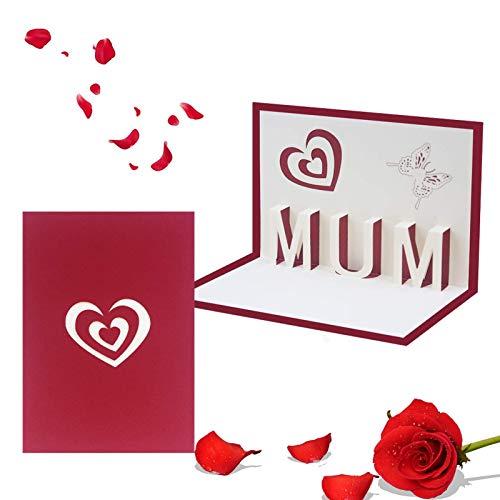 Muttertagsgrußkarte, Muttertags Geschenkkarten,3D Pop-up-Grußkarte mit Schönen Papier-Cut, Passend für Jahrestag, Erntedankfest, Geburtstag, Inklusive Umschlag
