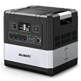 UPS Power Station, SUAOKI G1000 Portable Power Supply 1183Wh Silent Gas Free Generator LiFePO4 Battery Pack with 1000W (2000W Surge) AC Inverter, 60W Power Delivery USB C for Camping CPAP Power Outage