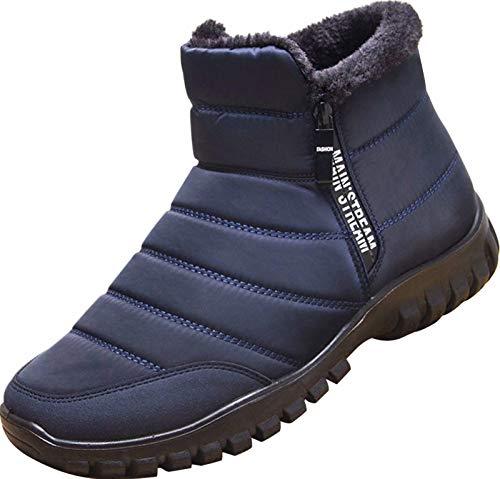 GILKUO Botas de Nieve Hombre Impermeable Zapatos de Invierno Botines Planos Forradas Calientes Comodas Zapatillas con...