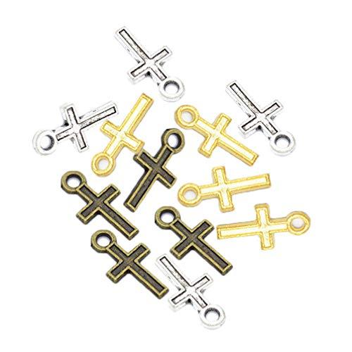 HEALLILY 300 Piezas Cruces Antiguas Encantos Pequeños Encantos Cruzados para Diy Artesanal Collar Pulsera Pendiente Joyería Haciendo Hallazgos Accesorio