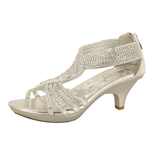 Delicacy JJF Shoes -62 Womens Strappy Rhinestone Dress Sandal Low Heel Shoes,Silver,9