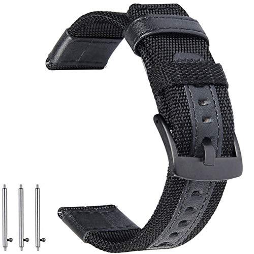 OTOPO für Galaxy Watch 46mm/Gear S3 Armband & Huawei Watch GT/GT Active/GT 2 Armbands, 22mm Nylon Ersatz Riemen Bänder Armband für Samsung Galaxy Watch 46mm / Gear S3 Smartwatch - Schwarz