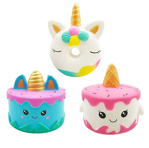 Vanely 3PCS Jumbo Squishies Narwhale Cake Unicorn Donut Set Kawaii Squishy Slow Rising Cream Scented - http://coolthings.us