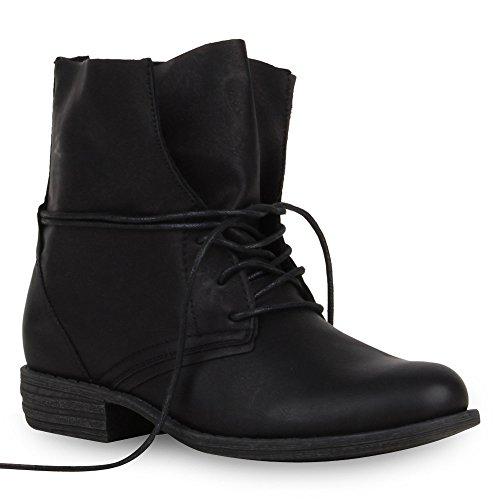 stiefelparadies Damen Stiefeletten Schnürstiefeletten Leder-Optik Schuhe Boots Kurzschaft-Stiefel Schnürboots 51290 Schwarz 42 Flandell
