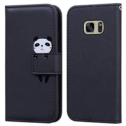Ailisi Cover Samsung Galaxy S7, Black Flip Cover Cartoon Cute Panda Custodia Protettiva Caso Libro in Pelle PU con Portafoglio, Funzione Supporto, Chiusura Magnetica - Panda, Nero