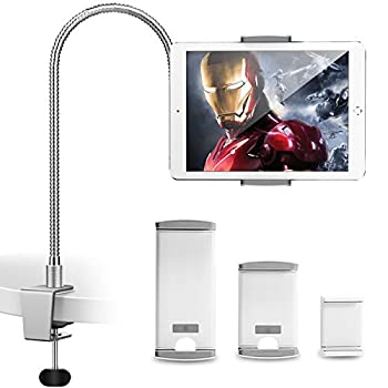AboveTEK iPhone Gooseneck Holder Heavy Duty Aluminum Tablet Stand iPad Holder for Bed Kitchen Office Flexible Long Arm Mount Stand Fits 3.5 -11  iPhone X 11 Pro XS Max iPad Android Tablet
