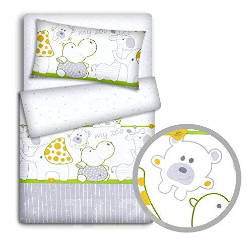 Baby Bedding Set Pillowcase + Duvet Cover 2PC to FIT Baby COT (Zoo Green)