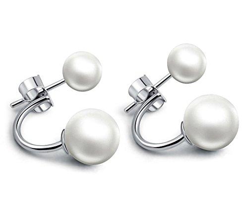 Unendlich U 925 Sterling Silber Doppel-Perlen Ohrstecker Ohrhänger Ohrring Jackets für Damen/Mädchen, verschiedene Tragevarianten
