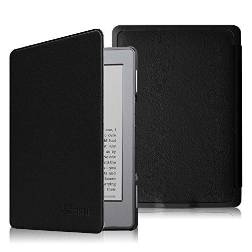 FINTIE Funda para Kindle 5/Kindle 4 - La Más Delgada y Ligera Carcasa de Cuero Sintético con Cierre Magnético, Negro