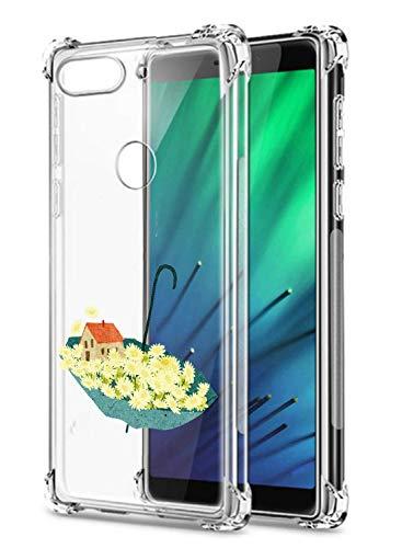 Suhctup Coque Compatible avec Xiaomi Redmi 6,Étui Houssee de Transparent Motif Mignon [Antichoc Coussin d'air] Crystal Clear Souple Silicone TPU Bumper Protection de Cover Case,Fleurs 2