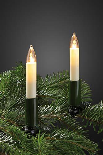 Hellum Lichterkette innen / 20 LED warm-weiß Schaftkerzen/Länge 13,3 m + 2x1,5 m Zuleitung, schwarzes Gummi-Kabel/Fassungsabstand 70 cm/teilbarer Stecker/Weihnachten / 802047
