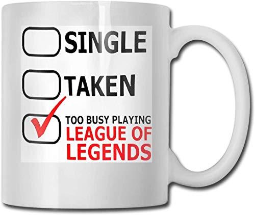 Demasiado ocupado jugando League of Legends Divertida taza de café Eres increíble Novedad de cerámica única Vacaciones Navidad Hanukkah Regalo para hombres y mujeres que aman las tazas de té y las taz