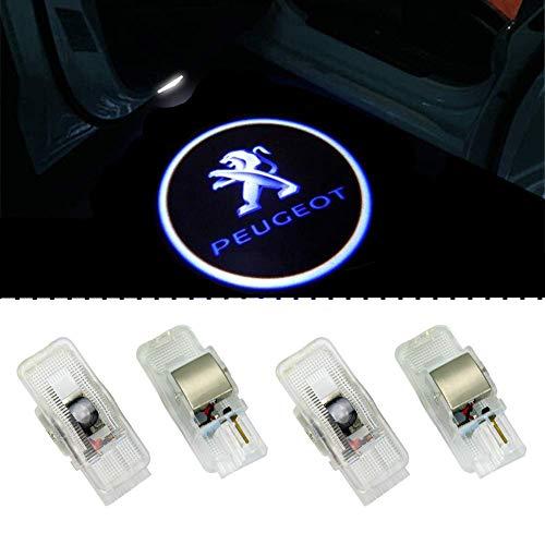 ZTMYZFSL 4 Unids Coche Logo Proyección Proyector LED Puerta fantasma Shadow Light Bienvenido Lámpara de Luz