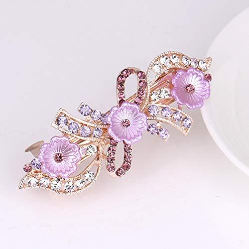 Pajarita de diamantes de perlas, tocado de horquilla grande, accesorios para el cabello de flores con pinza de cola de caballo de primavera versátil