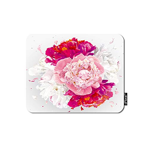oFloral Flower Gaming Mouse Pad Luxurious Pink Red White Peony Flowers Romantic Wedding Decorative Mousepad Rubber Base Home Decor for Computers Laptop Office Home 7.9X9.5 Inch