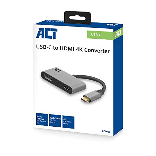 Adaptador ACT USB-C a HDMI con PD Pass-Through, 4 K @ 60...