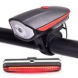 Set Eclairage Vélo, Lumière Vélo LED Puissante USB Rechargeable Etanche, Lampe Vélo Avant avec Sonnette 120dB + 5 Modes Lampe Vélo Arrière Cyclysme VTT Bicylette (Rouge)