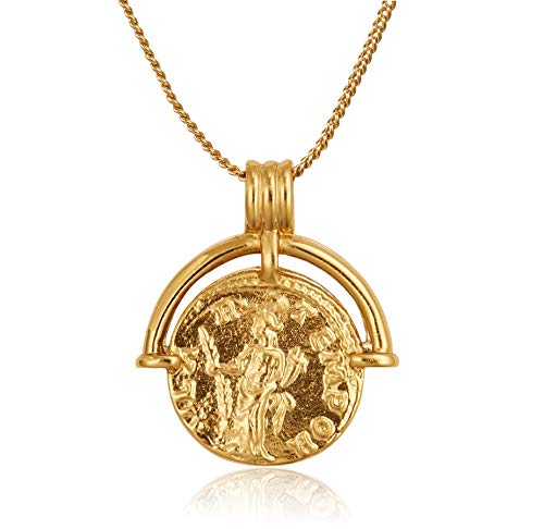 Coin Necklace 18K Gold Plated Vintage Coin Round High Polish Pendant Valentine's Day Mother's Day Special Gifts Gold Sweater Necklace for Women Girls Jewelry