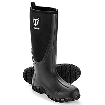 TIDEWE Rubber Boots for Men Multi-Season Waterproof Rain Boots with Steel Shank 6mm Neoprene Durable Rubber Outdoor Hunting Boots Realtree Edge Camo Size 11  Black
