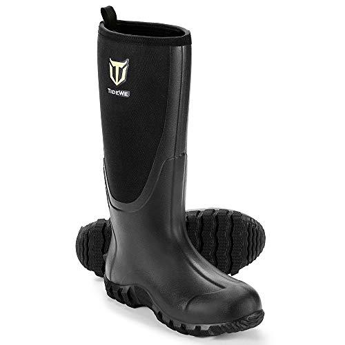 TIDEWE Rubber Boots for Men Multi-Season, Waterproof Muck Rain Boots with Steel Shank, 6mm Neoprene Durable Rubber Neoprene Outdoor Hunting Boots Realtree Edge Camo Size 9 (Black)