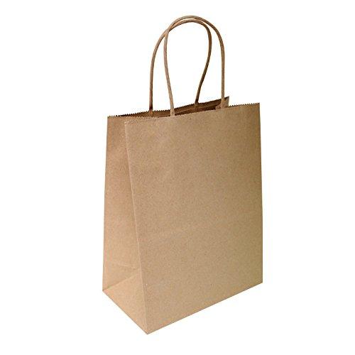 Brown Kraft Bags 8x4.75x10 - 100 Pcs - Brown Kraft Paper Bags, 95% Post Consumer Materials & FSC Certified (Plain)