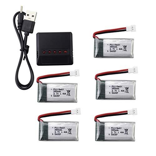 ZYGY 5x3.7V 380mAh 25C Batería Lipo y Cargador 5 en 1 para Hubsan X4 H107 H107C H107L RC Quadcopter Syma X11 X11C HS170 HS170C F180C HS170G TOZO Q2020 E016H E016F FX801 V911S A120 XK A150 V966 Drone