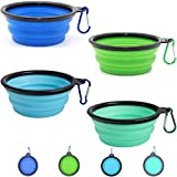 WOHENI Collapsible Dog Bowls for Travel, 4 Pack Portable Dog Water Bowl for Travel, Silicone Dog Cat Pet Feeding Watering Dish for Walking Parking