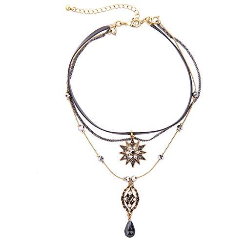 Fit&Wit Resin Rhinestone Zircon Black Layered Velvet Choker Fashion Necklace (Black)