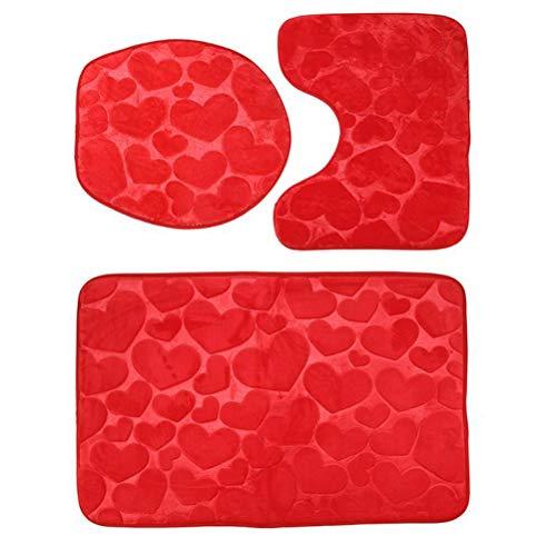 Lot de 3 tapis de salle de bain en flanelle gaufrée - Tapis de sol - Coussin de siège de toilette - Tapis de bain pour décoration de la maison (Rouge)