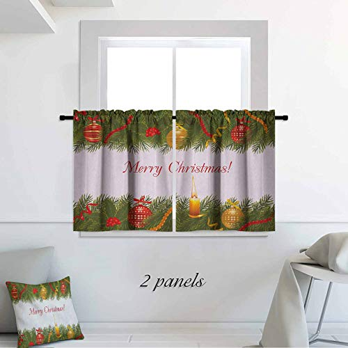 Christmas Tier Curtains Christmas Tree with Festive Elements and Burning Candle Retro Style Hand Writing 30 x 45 inch for Small Window Bathroom Farmhouse