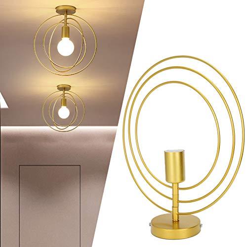 Lámpara de Techo, E27 Lámpara de Techo Colgante Dorada a Prueba de óxido, Estilo Industrial Redondo para Sala de Estar Comedor Fiesta temática Café