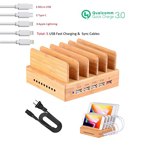 Bamboo Charging Station,USB Charging Station Dock 5- Port OthoKing Charging Stand Organizer Multiple Charger Station & Desktop Docking Station Compatible with Smartphone,Tablets,Samsung Galaxy
