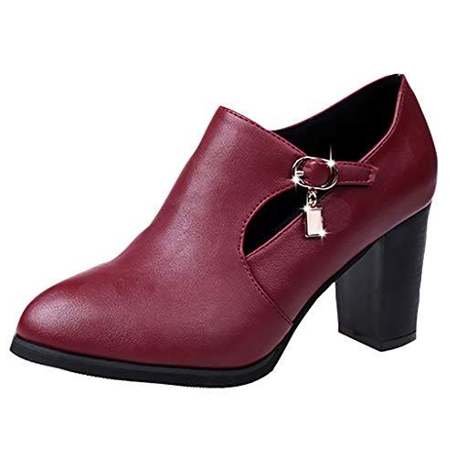 HoSayLike Botines Mujer Solide Cremallera TacóN Cuadrado Puntiagudo Zapatos De Fiesta Botas Salvaje TacóN Grueso Boca Poco Profunda Negro,Vino Rojo