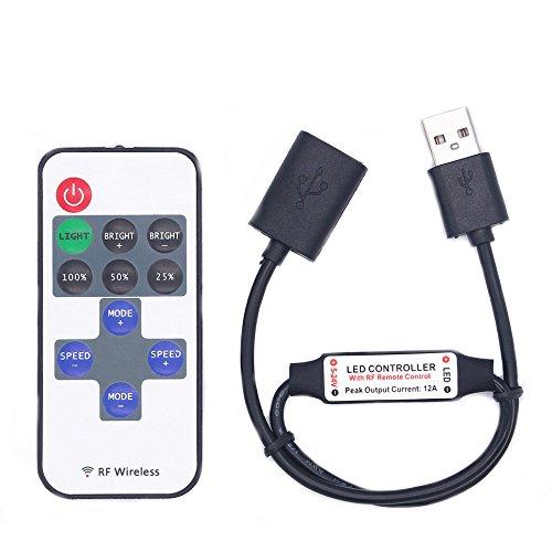 MASUNN DC5-24V 11 Tasten Mini USB Rf Wireless Dimmer Fernbedienungs-LED-Controller Für Einzelne Farbstreifen