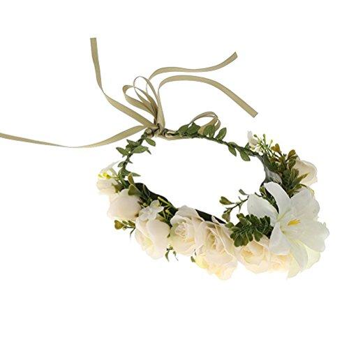 ULTNICE Blumenkranz,Blumen Stirnband Blumenkrone Boho Blumen Haarkranz Brautbrautjungfern Haarband für Damen Mädchen,(Beige)