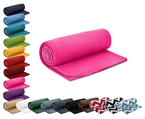 wometo Polar- Fleecedecke 130x160 cm ca. 400g wertiges Gewicht mit Anti-Pilling Kettelrand Farbe pink in vielen bunten Farben