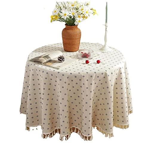 XIAOBAO Mantel limpio para limpiar, mantel simple de algodón y lino, mantel redondo para mesa de 100 cm, para decoración de mesa de comedor de cocina