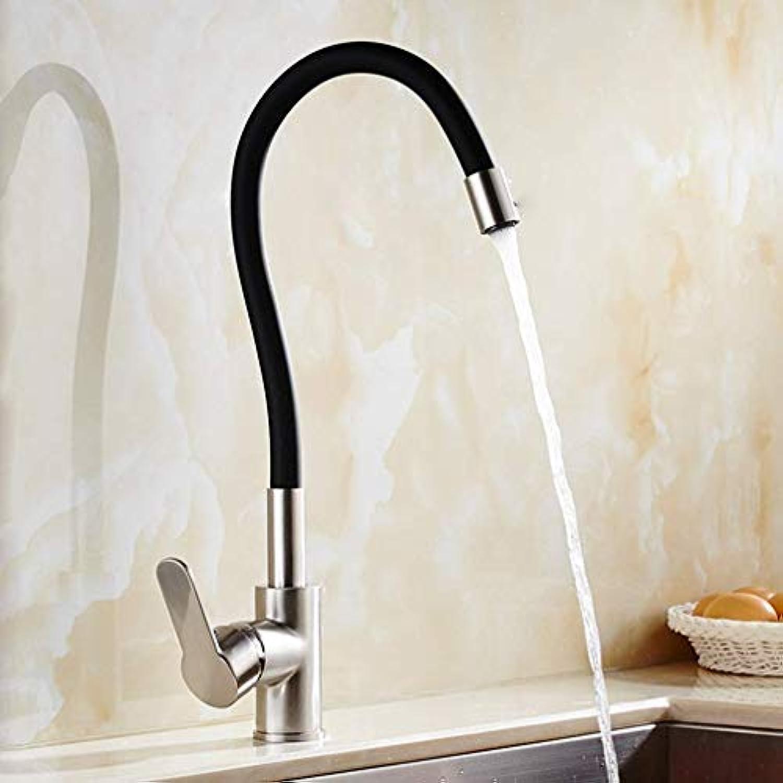 Faucet Home 360 Swivel Massivem Messing Einhebelmischer Waschbecken Wasserhahn Küchenarmatur Gebürstetem Nickel und Farbrohre Küchenarmatur