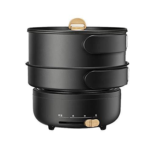 1-2 Personne électrique Foldble Voyage multicuiseur de Split Pot decocting Hot Pot Accueil Portable Frying Pan mijoteuse,Noir